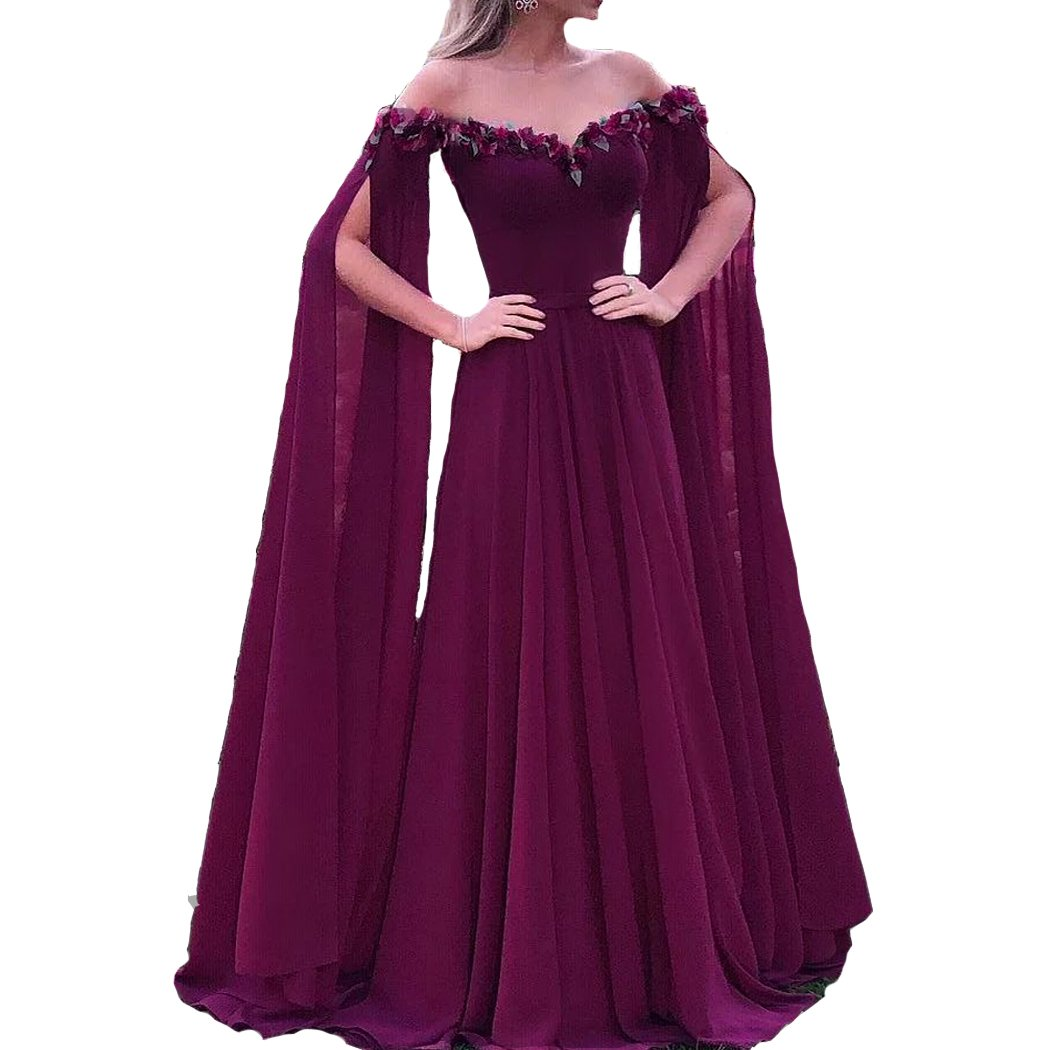Dark Plum Lemai Floral Off The Shoulder Goddess Long Sleeves Cape Prom Evening Dresses