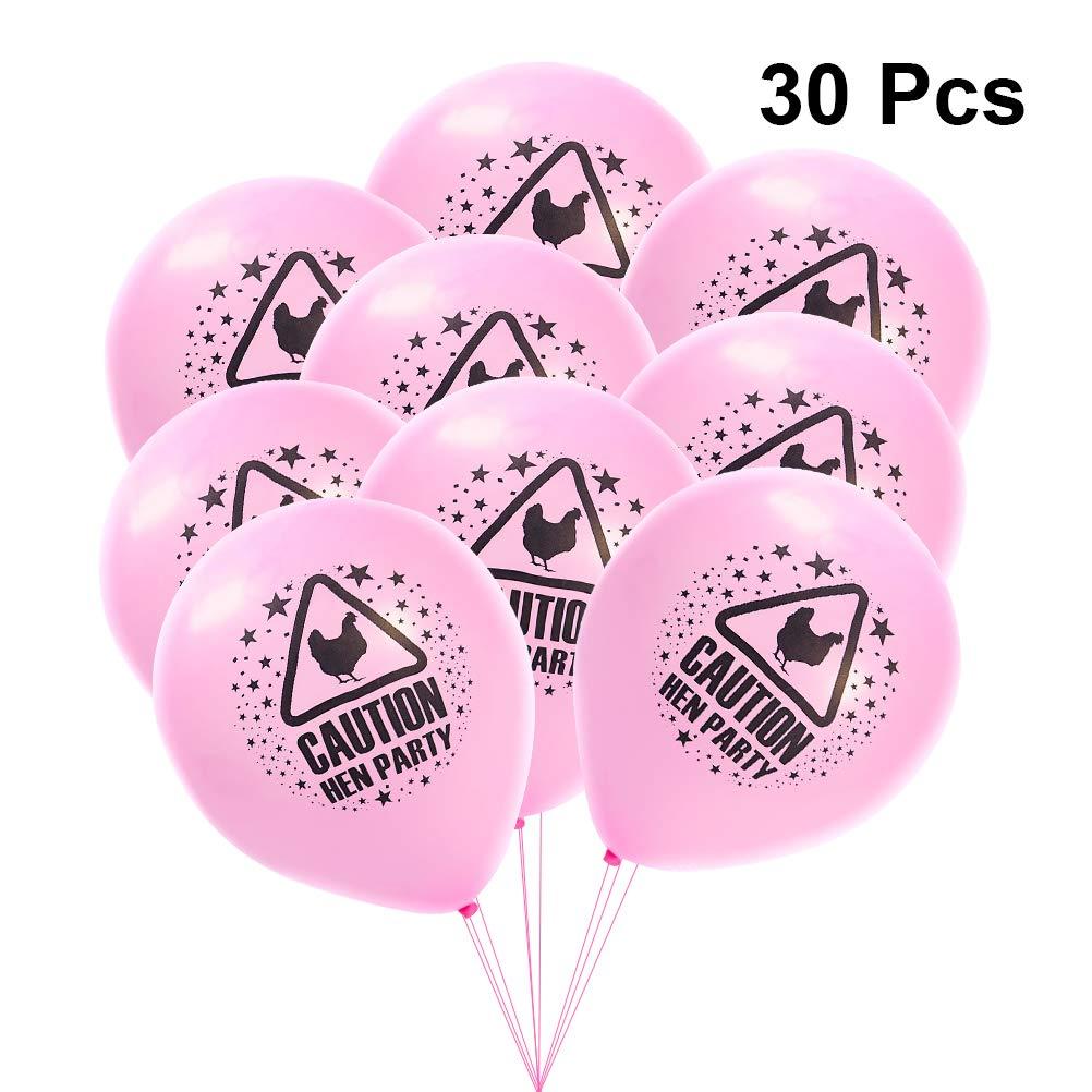 STOBOK 30pcs 10 Pouces Ballons de fête de Poule Rose Engagement drôle Ballons abusifs décoration de fête de Poule favorise Fournitures