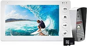 HomeFong Home Intercom Video Door Phone System 7 inch White Indoor Monitor 1200TVL IR Night Vision Rainproof Outdoor Doorbell with 16GB SD Card