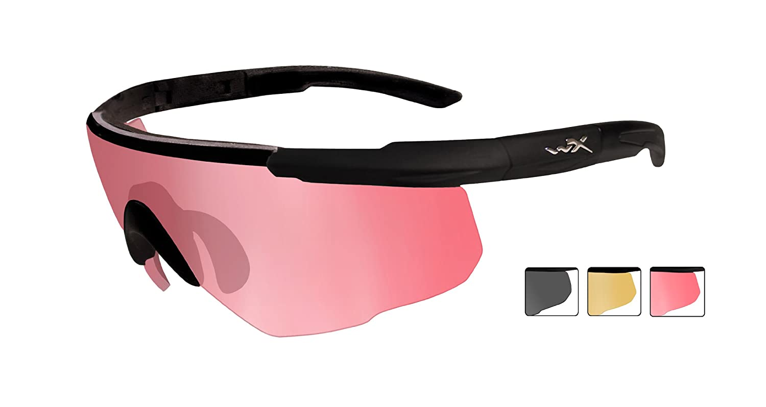7b7db94c34 Wiley X Saber Advanced 309 Protective Glasses - Set Including 3 Lenses -  Size M-XL - Matte Black  Amazon.co.uk  Sports   Outdoors