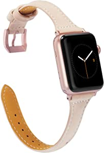 Wearlizer Nude Slim Leather Compatible with Apple Watch Bands 38mm 40mm Womens for iWatch SE Strap Wristband Thin Replacement Leisure Cute Bracelet (Rose Gold Clasp) Series 6 5 4 3 2 1