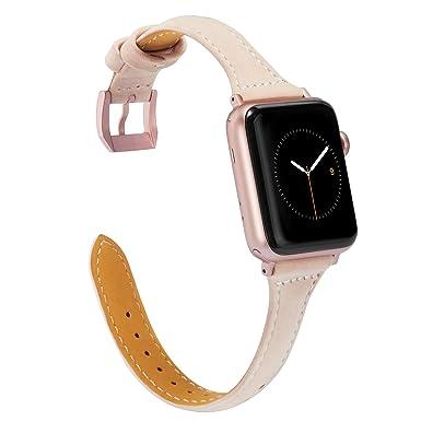 Wearlizer For Apple Watch Strap 38mm 40mm, Slim Leather I Watch Strap I Watch Series 4 Straps Series 3 Replacement Band Women And Men   38mm 40mm Beige by Wearlizer