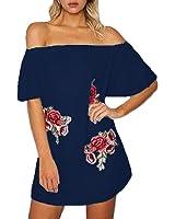 Auxo Mini Vestidos sin Hombro Mujer Blusa Volante Larga Tops con Flores Bordados Verano
