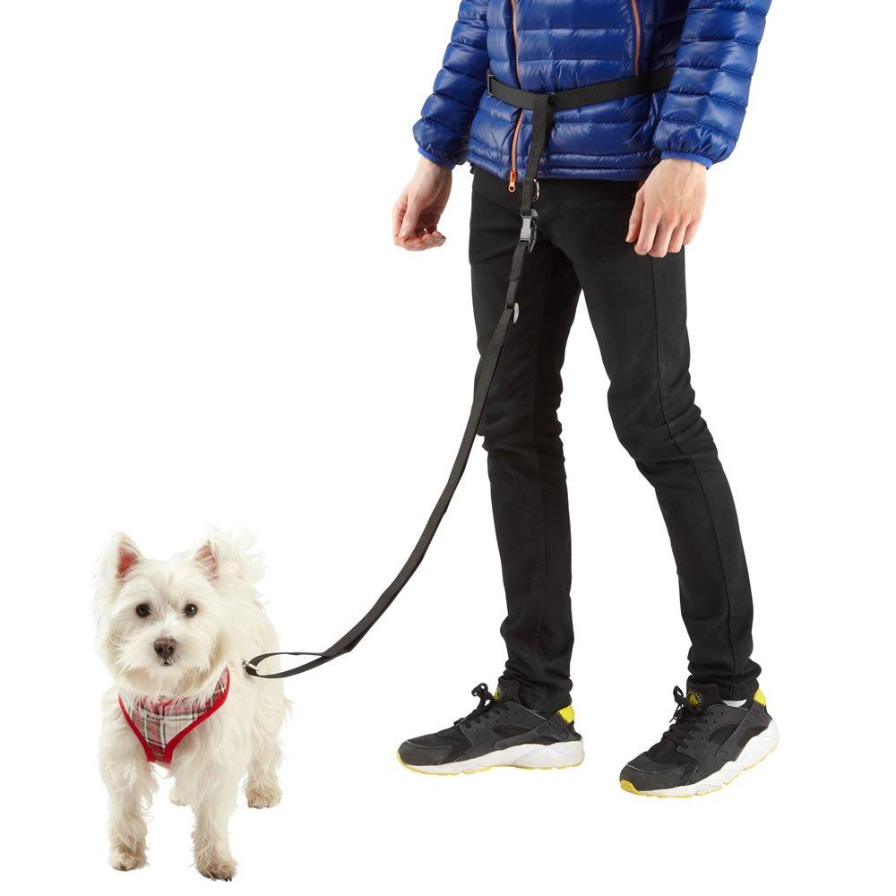 Jazooli Adjustable Handsfree Hands Free Dog Running Jogging Waist Belt Lead Leash Brown Medium