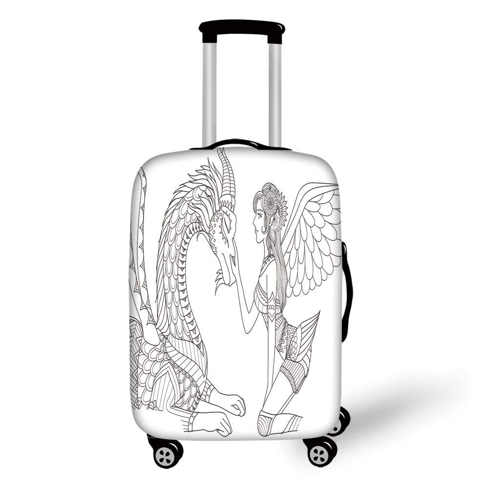 Travel Luggage Cover Suitcase Protector,Fantasy,Drawing of a