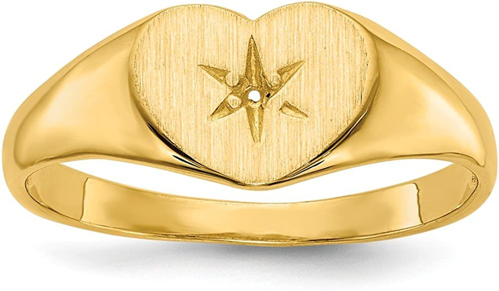 14k Heart .01ct Diamond Signet Ring Mounting Size 6 Length Width 2 to 7