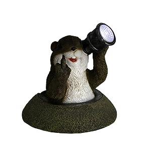 Zeckos Funny Solar Eyes Middle Finger Groundhog LED Accent Light Statue