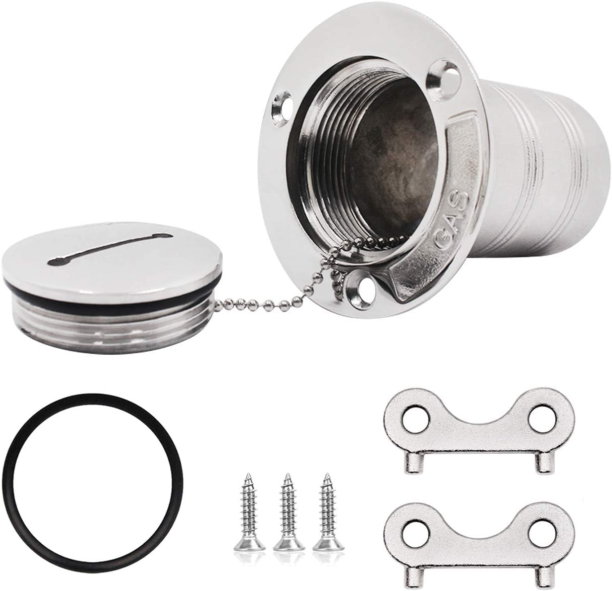 Screws and Spare O-Ring 51mm SHENGHUISS 2 Inch Boat Deck Plate Gas Fill//Filler Key Cap Kit Marine Stainless Steel 316 Boat Yacht Caravan with 2 Keys