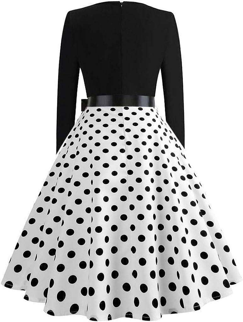 Frauen Katze Musiknote Abendkleid Damen Vintage Langarm Plaid Print 1950er Jahre Hausfrau Party Prom Swing Kleid