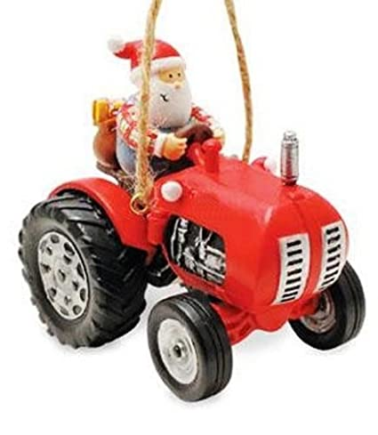 Farmer Santa Riding Tractor Holiday Christmas Ornament By Cape Shore