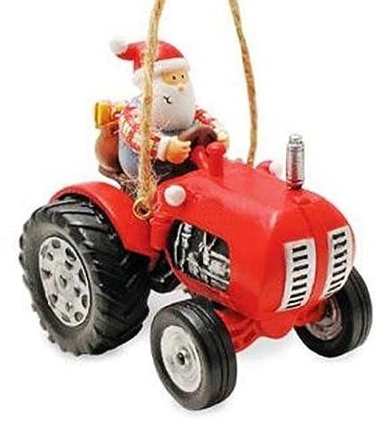 Farmer Santa Riding Tractor Holiday Christmas Ornament By Cape Shore