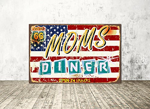 Moms diner sign, Moms diner, Metal Sign Tin Signs Retro Shabby Wall