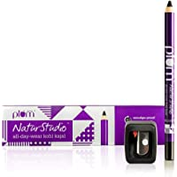 Plum NaturStudio All-Day-Wear Kohl Kajal(with free sharpener), 1.2g | Darkest Black | Smudge-proof | Water-proof | 100% Vegan Kajal cum Liner