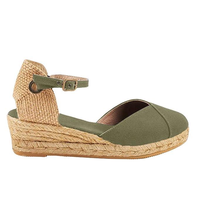 c7a29dffaf3b Amazon.com  PiePieBuy Womens Espadrille Platform Wedge Sandals Closed Toe  Mid Heel Ankle Sandals  Clothing