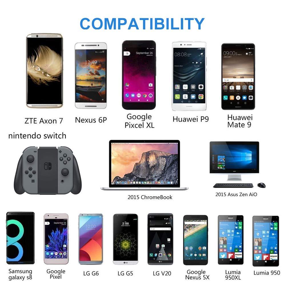 Câble USB Type C Court Zkaiz [Lot de 4 0,3m] USB C vers USB 3.0 Câble de Charge et cordon de synchronisation de données pour Samsung Galaxy S8 S9 MacBook Sony LG HTC Nintendo Commutateur - Rouge&Noir