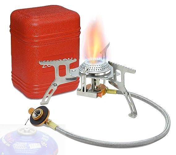 Hornillo de gas zoeson portable en aire libre: Amazon.es: Deportes y aire libre
