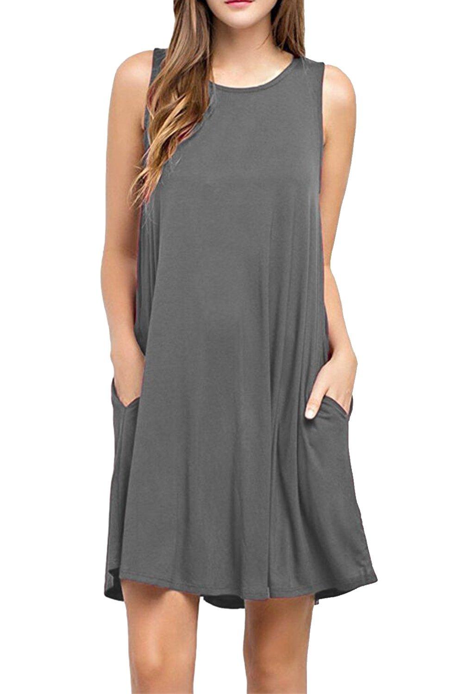 Zilcremo Women's Summer Casual Sleeveless Sundress Tunic Dress with Pockets CAFZ588