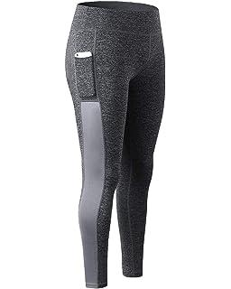 Legging de Sport Femme Haute élasticité Yoga Jogging Fitness Running  Pantalon Taille Haute avec Poche 46d5a68cf02