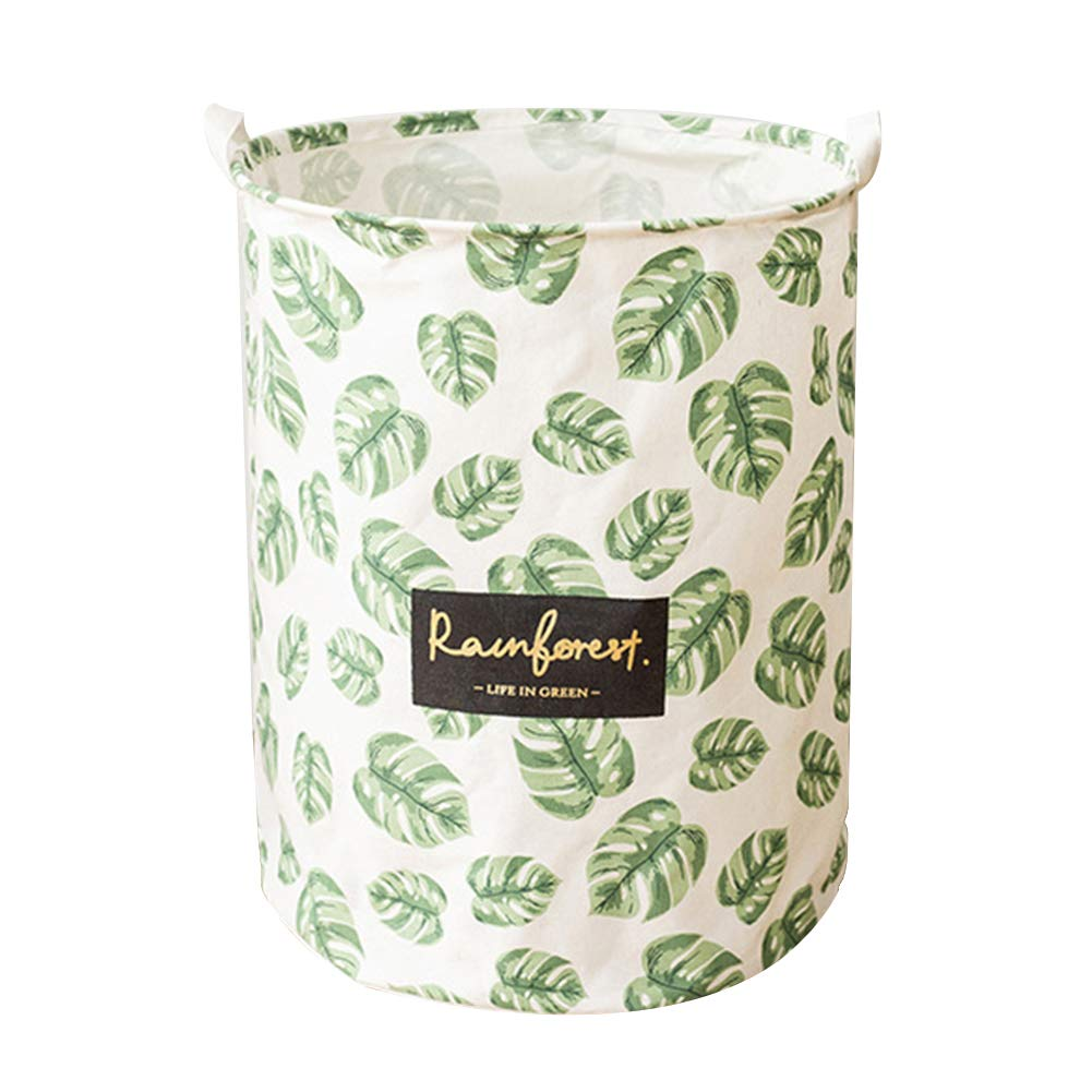 Wakerda Canvas Storage Basket - Large Storage Bin with Handles - Natural Leaf Pattern Storage Containers