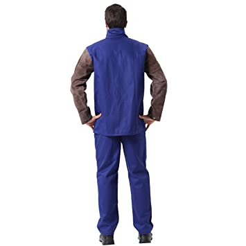 Welding Jacket Flame/Heat/Abrasion Resistant Hybrid Cowhide Leather & Flame Retardant Cotton Long