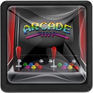Anna Cowper Video Games Square Knobs, Arcade Machine Retro Gaming Fun Joystick Buttons Vintage 80'S 90'S Electronic 3 Pack of Square Kitchen Cupboard Knobs Drawer Pulls with Glass
