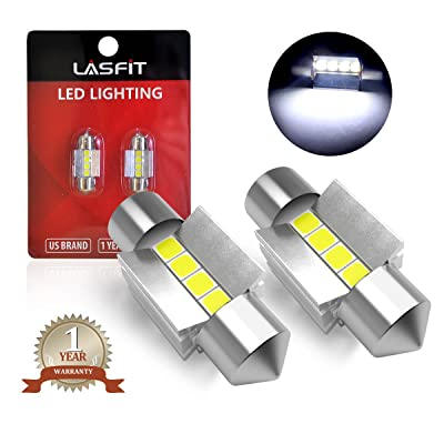 31mm LED Festoon DE3175 DE3021 6428 Bulb Canbus Error Free 400LM 6000K Extremely Bright Use for Dome Map Door Interior Door Trunk Glove Box Lights, Xenon White (Pack of 2): Automotive