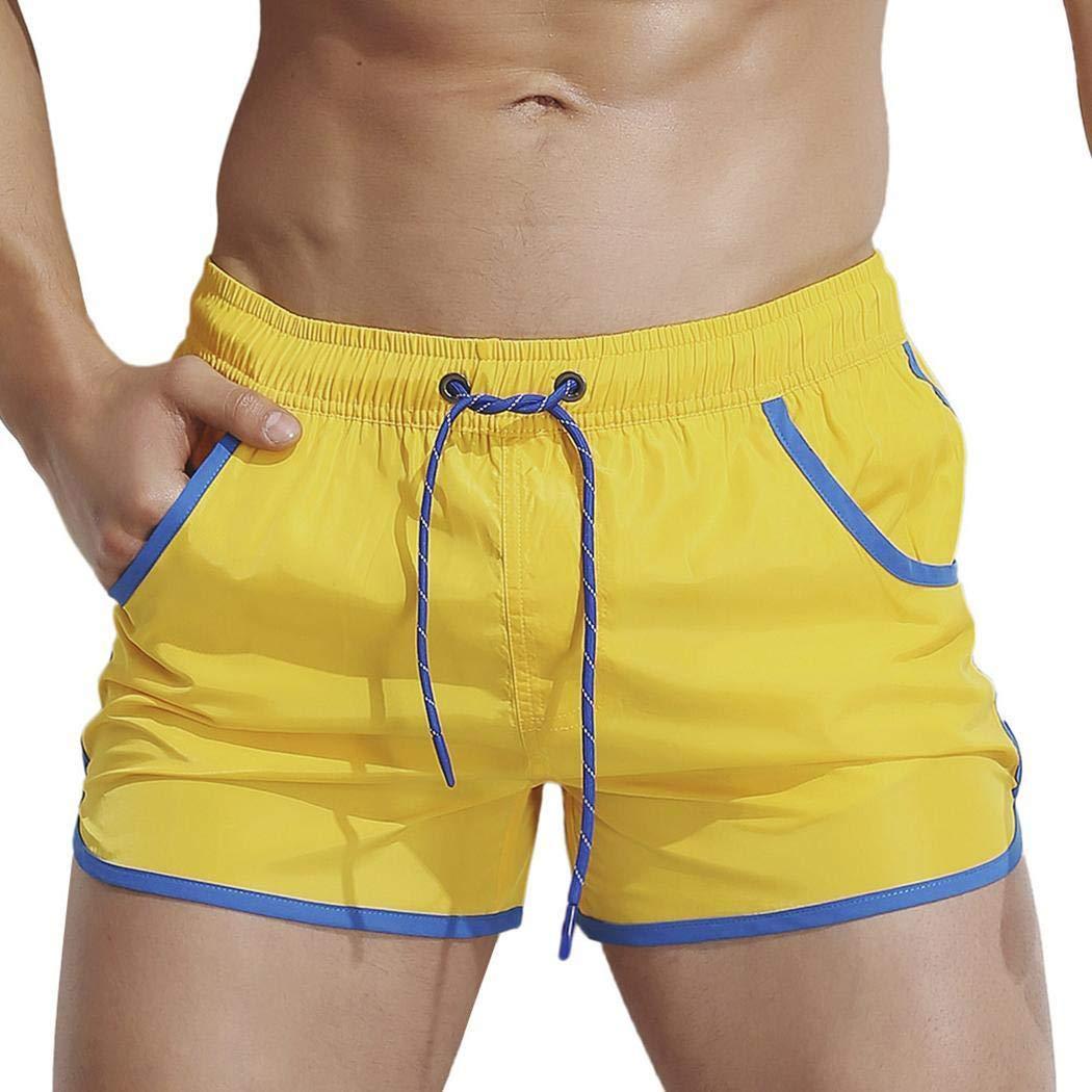 Soslip Men Irregular Hem Patchwork Pocket Drawstring Running Shorts Briefs