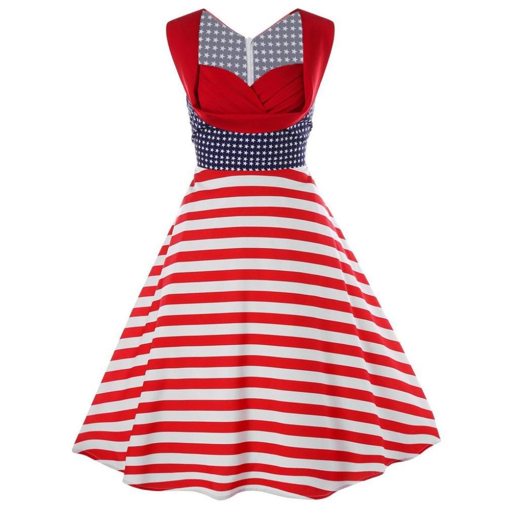 Pervobs Dress, Big Promotion! Women American Flag Elegant Sleeveless Vintage Tea Hepburn Casual Loose Mini Dress Ball Gown (L, Red)