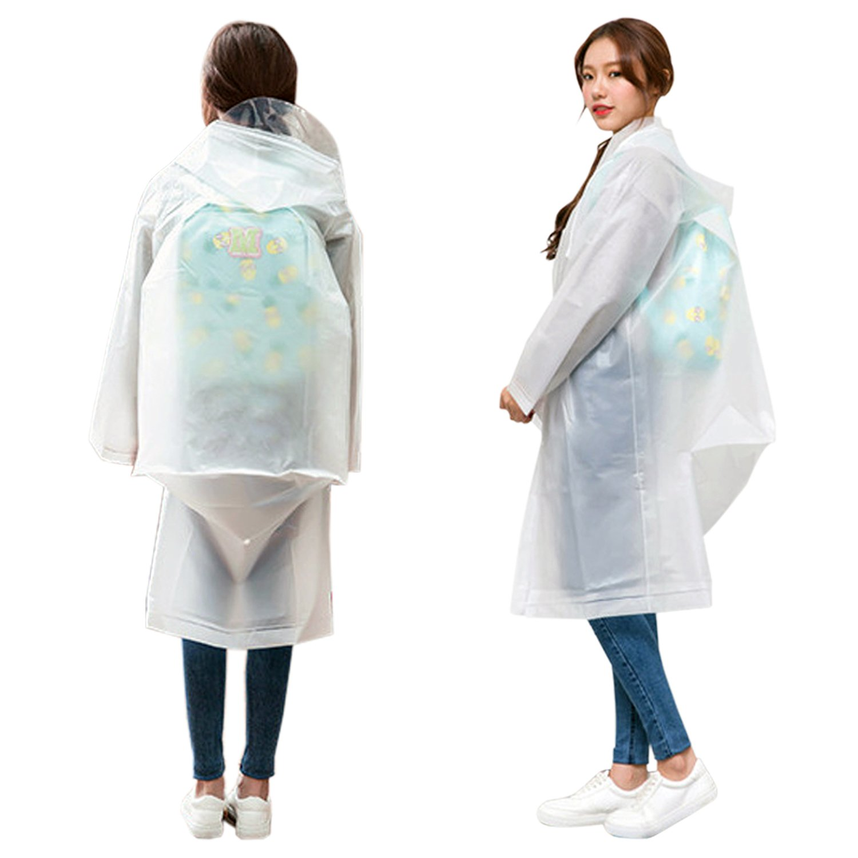 ShoppeWatch Clear Plastic Raincoat Poncho Backpack Slot Reusable Drawstring Hood