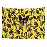 HUGS IDEA Animal Kitten Design Tapestry Asian Leopard Cat Prints Stylish Wall Blanket Home Decor for Bedroom Dorm Apartment