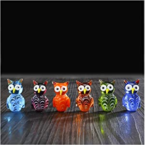 crystalsuncatcher Handmade Wild Animal Art Glass Blown Owls Figurine Collection(owl)
