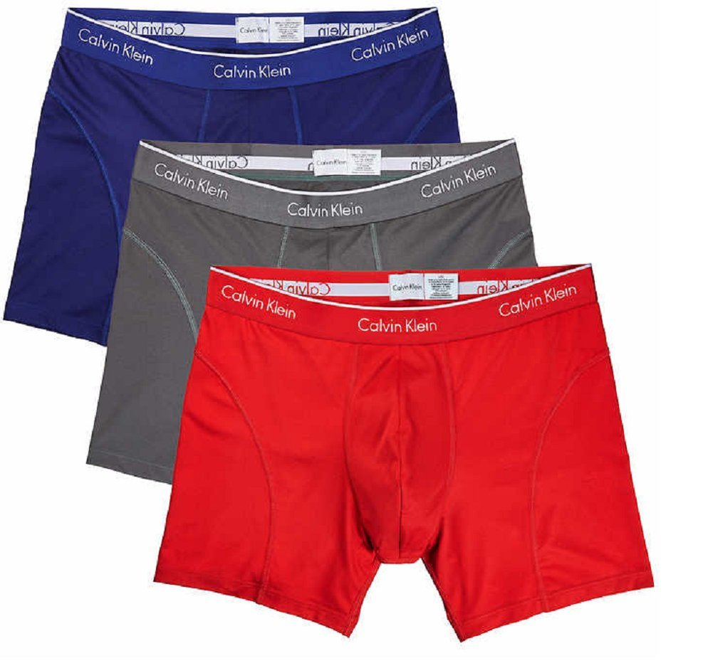 Calvin Klein Boxer Brief Extreme Comfort Breathable Mesh New Style (3 Pack) (X-Large, Navy-Grey-Red)