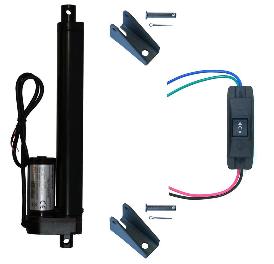"""WindyNation 8 Inch 8"""" Stroke Linear Actuator 12 Volt 12V 225 Pounds lbs + Up Down DPDT Switch + Mounting Brackets (8"""" Actuator, Maintained Switch)"""