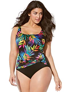 1805f7a5675 Swimsuits for All Women's Plus Size Longitude Rainforest Tank Swimsuit