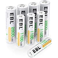 EBL AA Rechargeable Batteries 2800mAh (4 Pack) and AAA Rechargeable Batteries 1100mAh (4 Pack), 1.2V Ni-Mh Batteries Combo