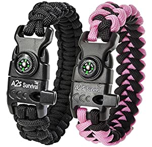 A2S Paracord Bracelet K2-Peak – Survival Gear Kit with Embedded Compass, Fire Starter, Emergency Knife & Whistle – Pack of 2 - Quick Release Slim Buckle (Black / Pink 7.5