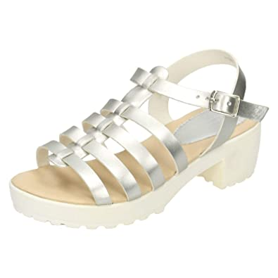 b199847b78 HeelzSoHigh Kids Girls Childrens Silver Strappy Sandals Summer Holiday  Retro Shoes Sizes 10-2: Amazon.co.uk: Shoes & Bags