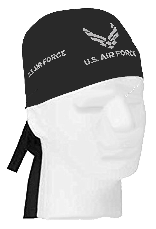 9040cfa617f Air force doo rag durag cap black head wrap silver wings logo emblem at  amazon mens