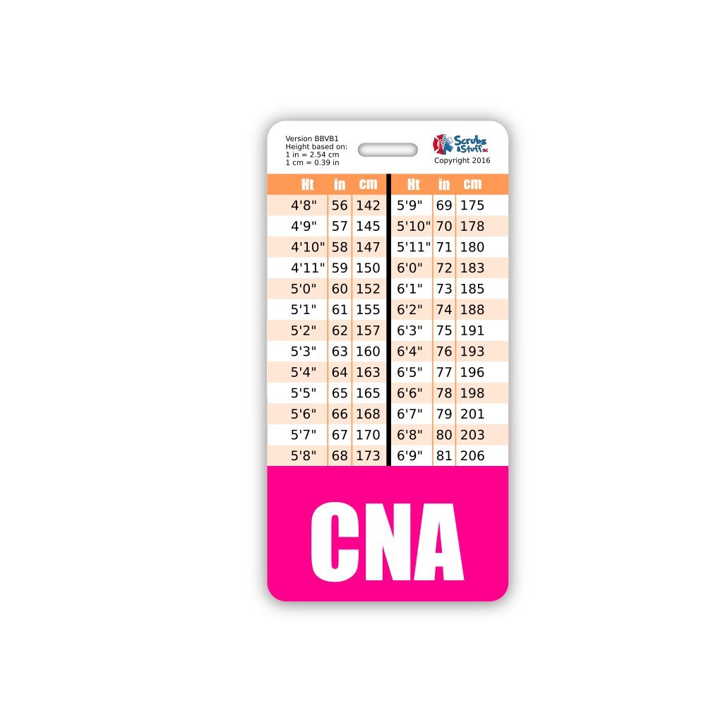 Amazon cna badge buddy vertical w height weight amazon cna badge buddy vertical w height weight conversion charts pink office products nvjuhfo Images