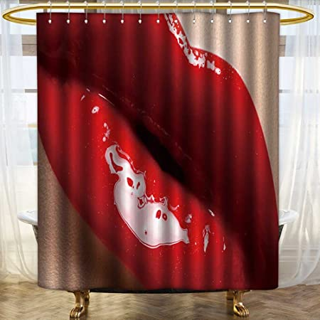 Fabric Shower Curtain Close Up Of Womans Lips With Bright Fashion Red Glossy Makeup For Bathroom