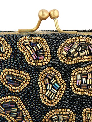 MyBatua Earlene Borsa abbellita con perline nero e oro della catena del metallo Strap ACP-337