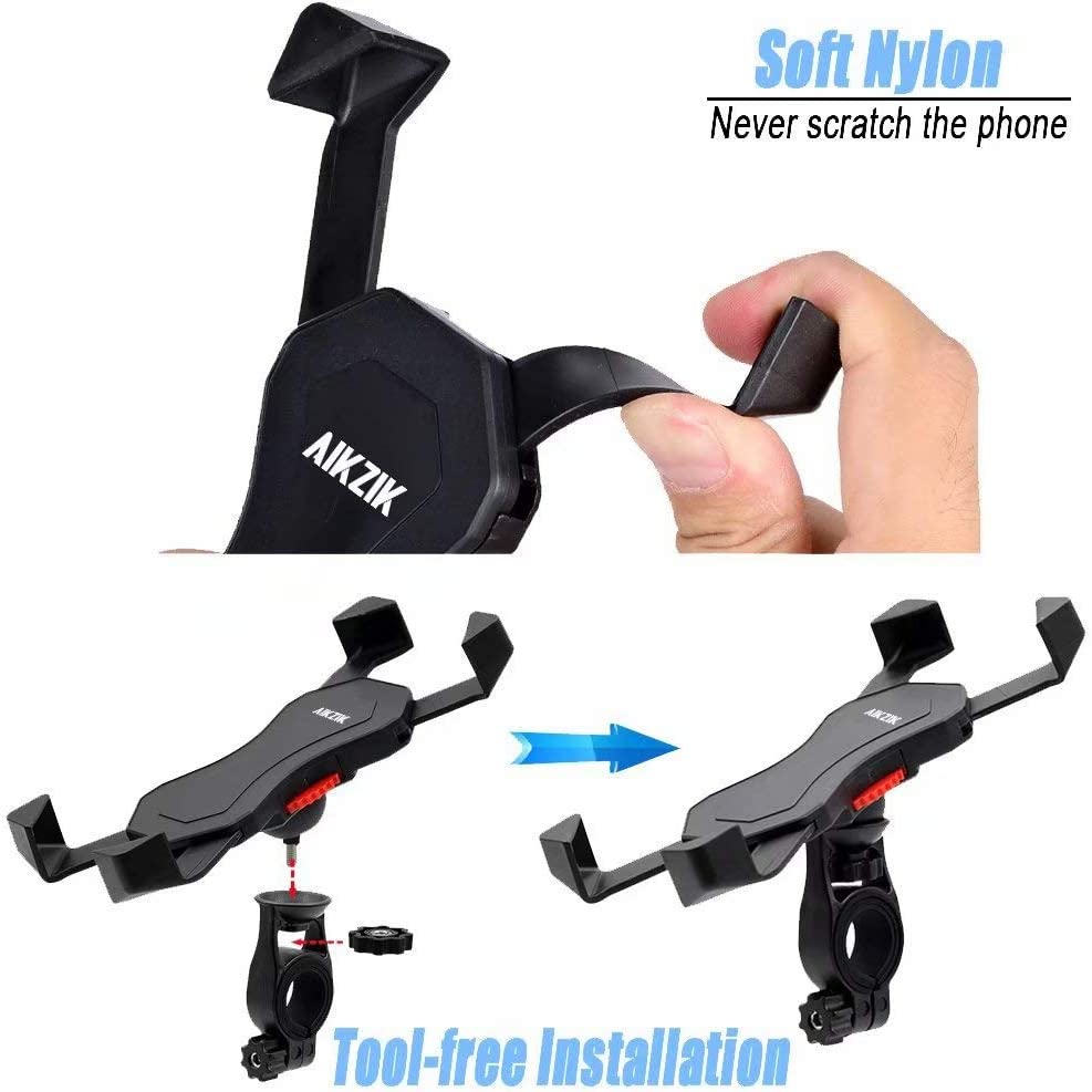 Google Pixel Motorcycle Phone Mount 360/° Rotation Bicycle Phone Holder Fits Phone Xs Max XR X 8 7 6 Plus Samsung S10 9 8 Galaxy S9 8 7 GPS Other Devices from 3.5 to 6.5 Aikzik Bike Phone Mount
