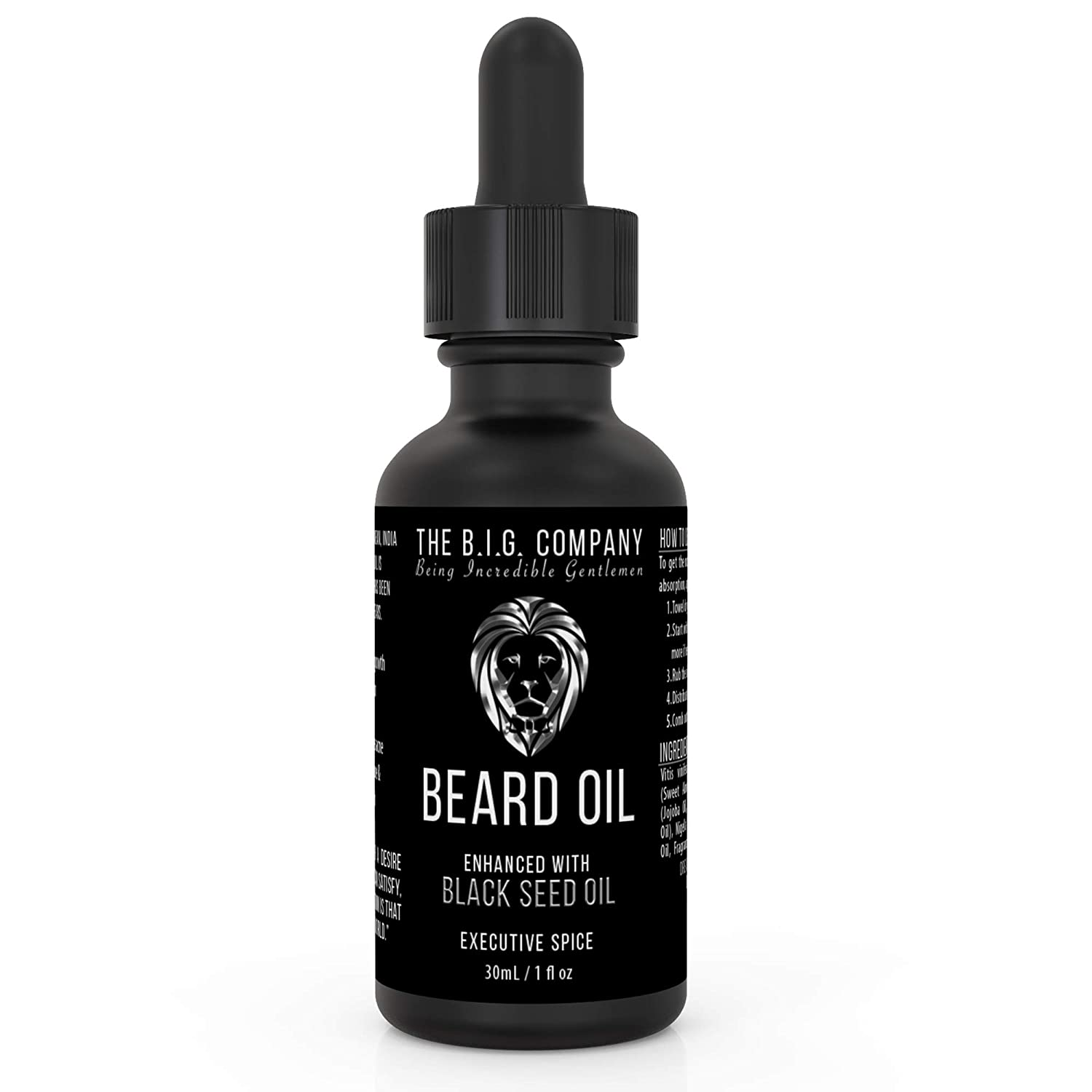 The B.I.G. Company Beard Oil – Made in Canada – Infused with Jojoba Oil & Ancient Blackseed Oil for Promoting Moustache & Beard Growth, Deep Conditioning, Anti-Aging & Helps Acne Prone Skin – Stops Itching, Strengthens Beard – Key t