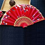 Labu Store 2017 New Chinese Japanese Vintage Fancy Folding Fan Hand Plastic Lace Silk Flower Dance Fans Party Supplies For Gift