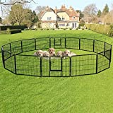 """go2buy 16 Panels Dog Playpen Metal Pet Puppy Cat Exercise Fence Barrier 24"""" Tall For Sale"""