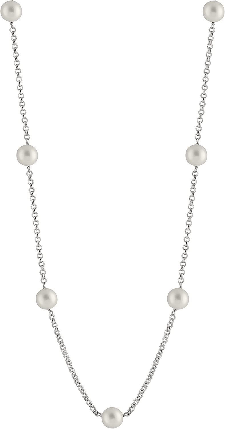 Handpicked AA Sterling Silver Rhodium-Plated Necklace Freshwater Cultured Pearls CZ
