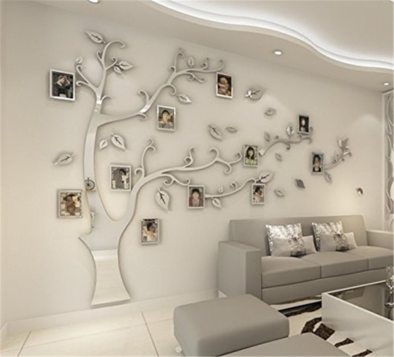 DIY 3D Huge Memory Tree Wall Stickers Crystal Acrylic Photo Frame Home Decorations Arts (Silver-Left, XL)