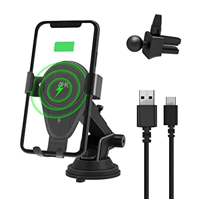 AHK Wireless Charger Car Phone Mount Gravity Windshield Dashboard Air Vent Phone Holder for iPhone Xs Max/XS/XR/X/8Plus/8 and for Samsung S9/S9+/S8/S8+/Note9/Note8 & Other Qi Enabled Phones (Black)