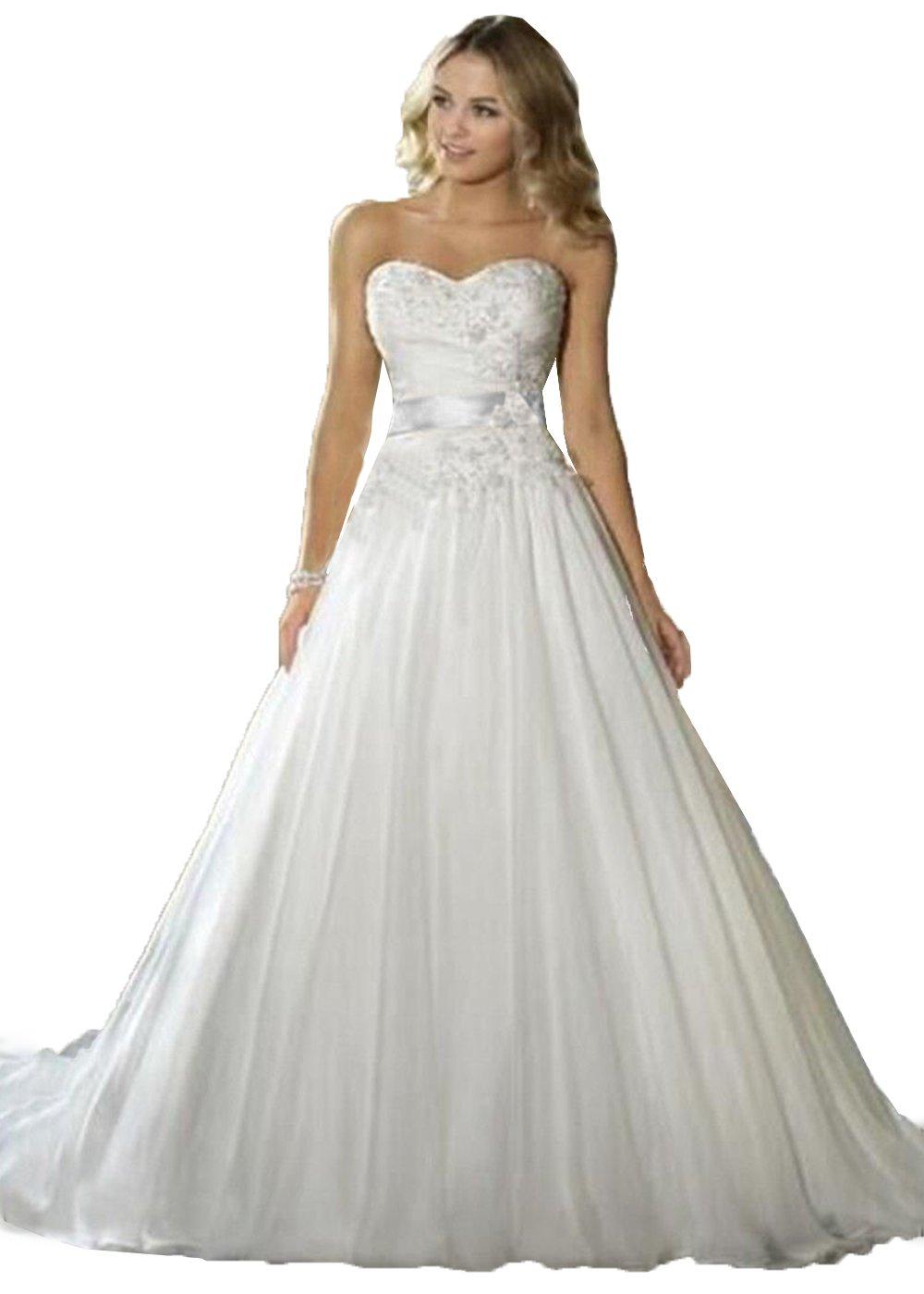 JinXuanYa® woman's New court train applique Beaded Beach wedding dresses (18, White)