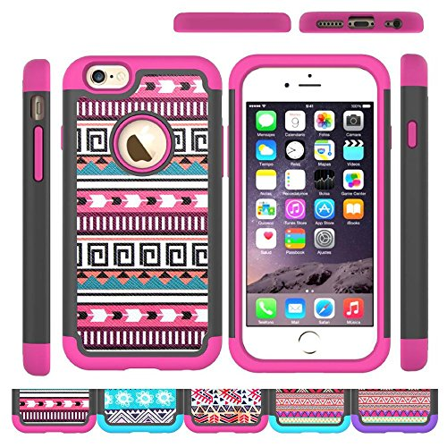 iPhone 6s Case,iPhone 6 Case,[4.7inch]by HLCT,Soft Interior Silicone Bumper&Hard Shell Solid PC Back,Shock-Absorption&Skid-proof,Anti-Scratch Hybrid Dual-Layer Cover (Pink2)